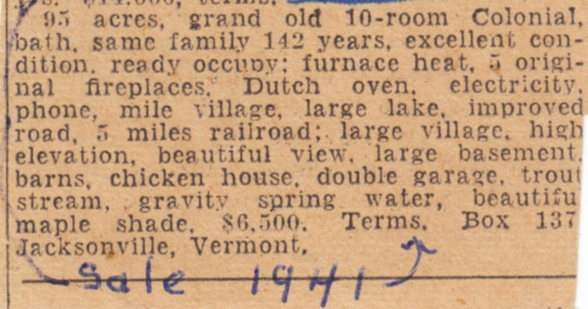 Sale of House 1941